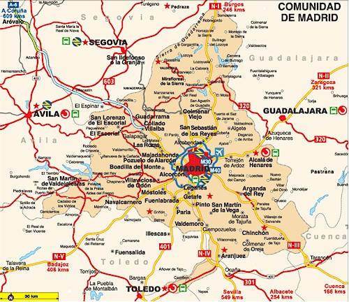 Mapa de Localidades de Madrid